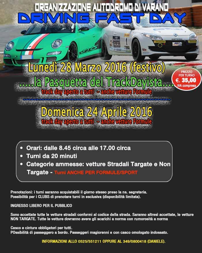 Varano - DFD - Track Day - Lunedì 28 Marzo - festivo Date_dfd_030416