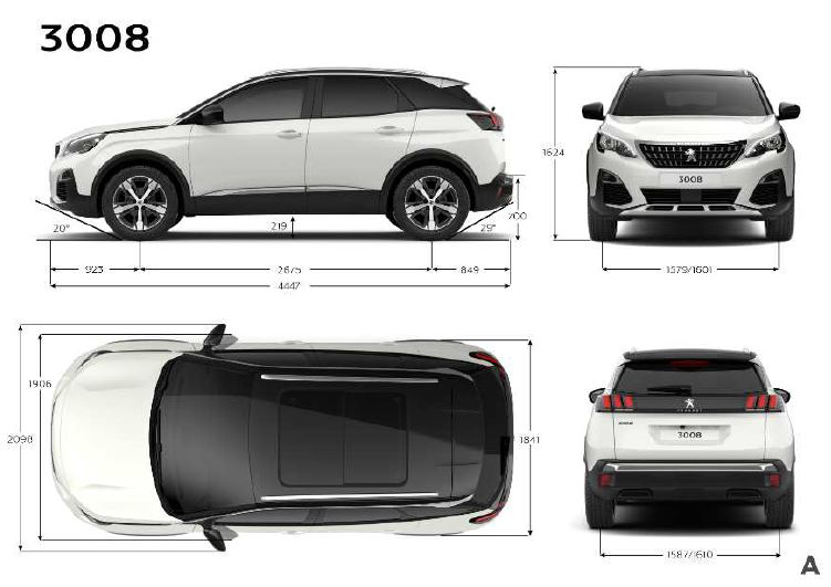 Medidas exteriores Peugeot-3008
