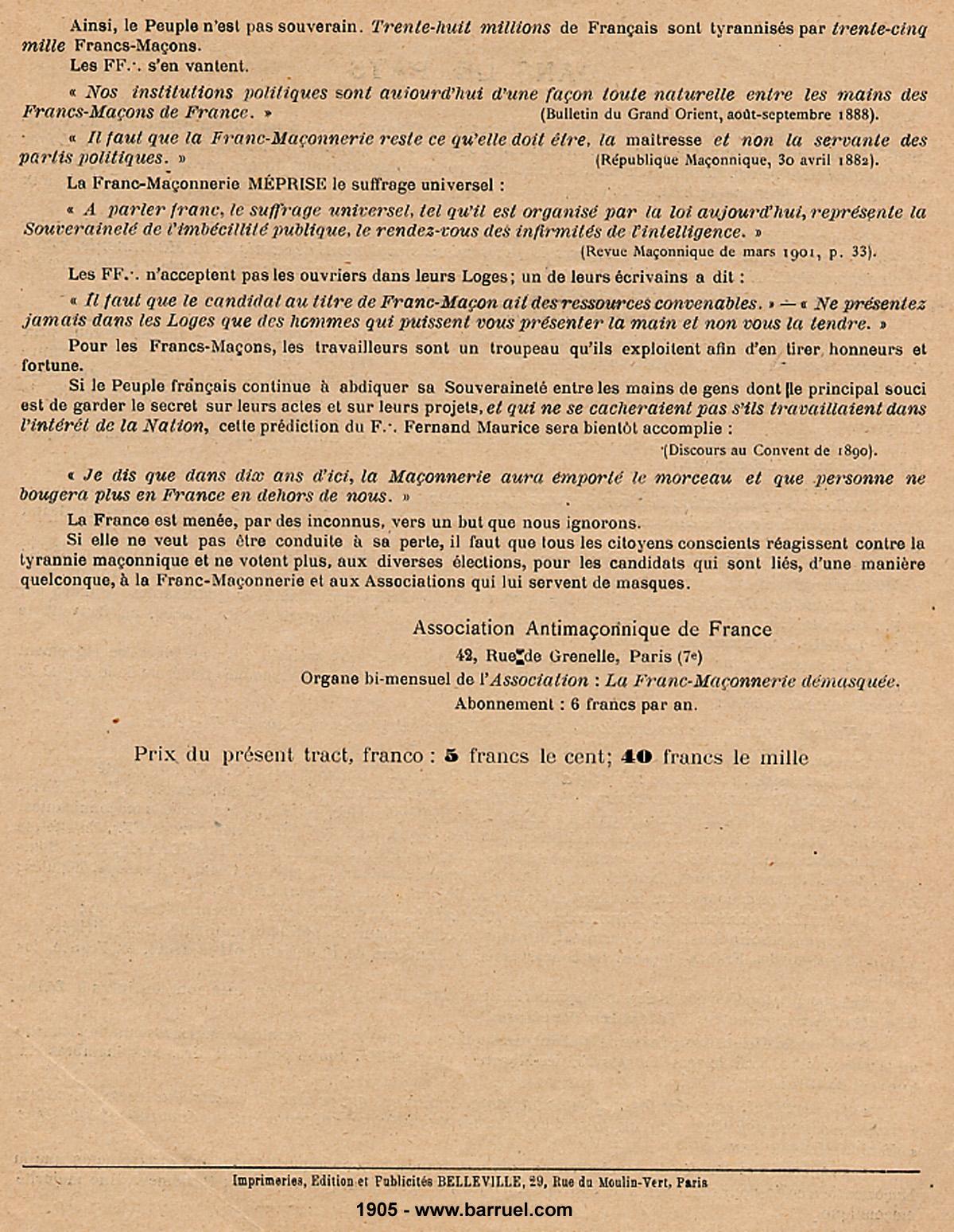 La dictature de la franc-maçonnerie sur la France, extraits inédits! Dictature-franc-maconnerie