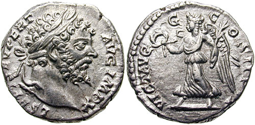 Denario de Septimio Severo. VICT AVGG COS II P P. Victoria  SeptimiusSeverus-RICIV-499