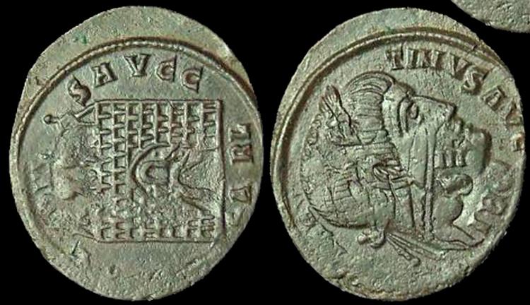 Une autre monnaie bizarroïde pour constantin ConstantineI-RICVII-NIR-SARL-Overstrike-Iovi-Arch-8-Rotated