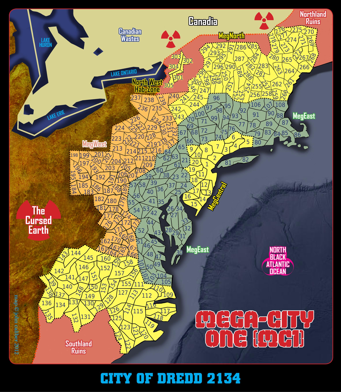 Mega City One, 400 millions d'habitants, chacun d'entre eux est un criminel potentiel... Dredd RPG MC1%20Map