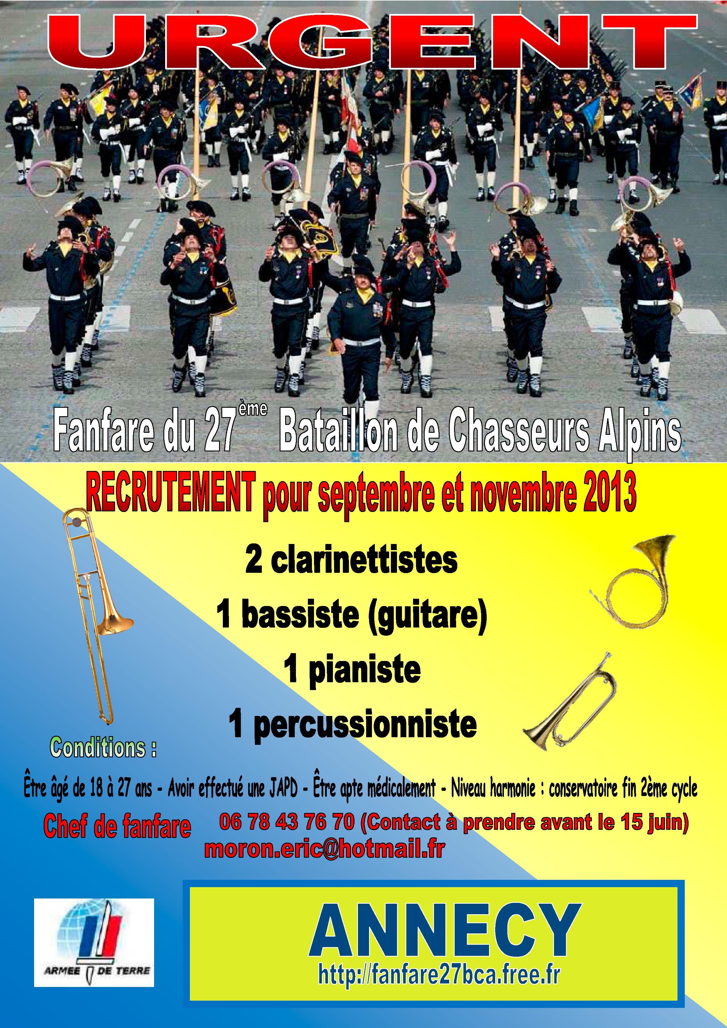 _ Fanfare 27 BCA recrutement urgent  Fanfare