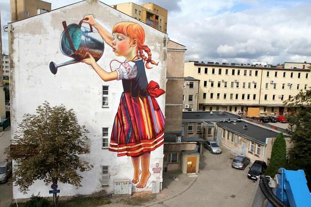les plus beaux Street Art  Natalia-Rak-mural-Legenda-o-wielkoludach-16