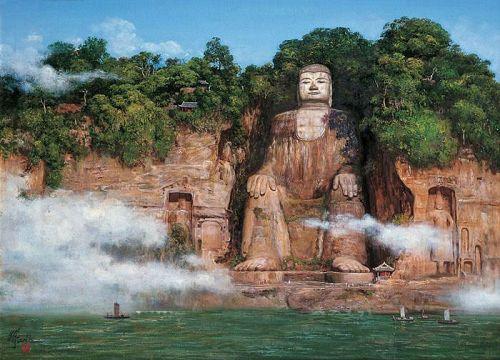 Algunos de los lugares Patrimonio de la Humanidad menos conocidos  Gran-buda-leshan-china-vista-lejana-nubes
