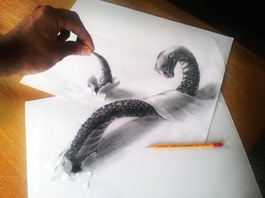 رسومات لا تصدق.. 33 رسمة 3d قمة الجمال والروعة مرسومة بقلم الرصاص..  3d-pencil-drawings-107