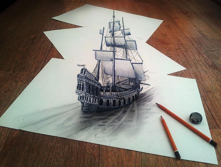 رسومات لا تصدق.. 33 رسمة 3d قمة الجمال والروعة مرسومة بقلم الرصاص..  3d-pencil-drawings-113