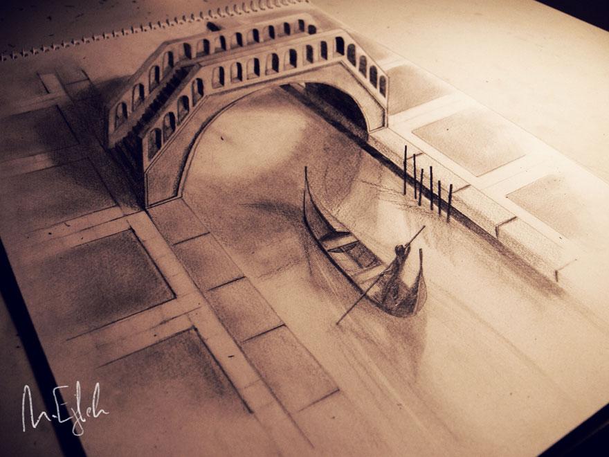 رسومات لا تصدق.. 33 رسمة 3d قمة الجمال والروعة مرسومة بقلم الرصاص..  3d-pencil-drawings-1