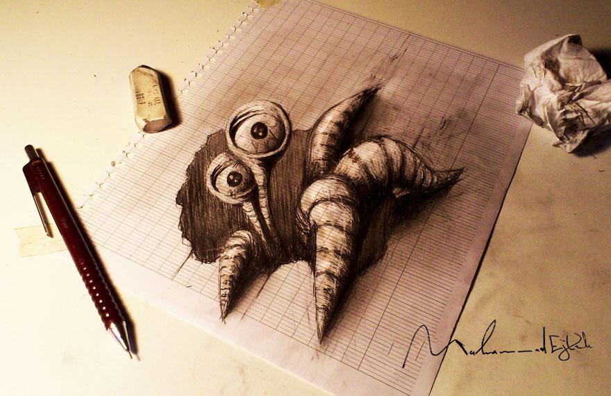 رسومات لا تصدق.. 33 رسمة 3d قمة الجمال والروعة مرسومة بقلم الرصاص..  3d-pencil-drawings-11