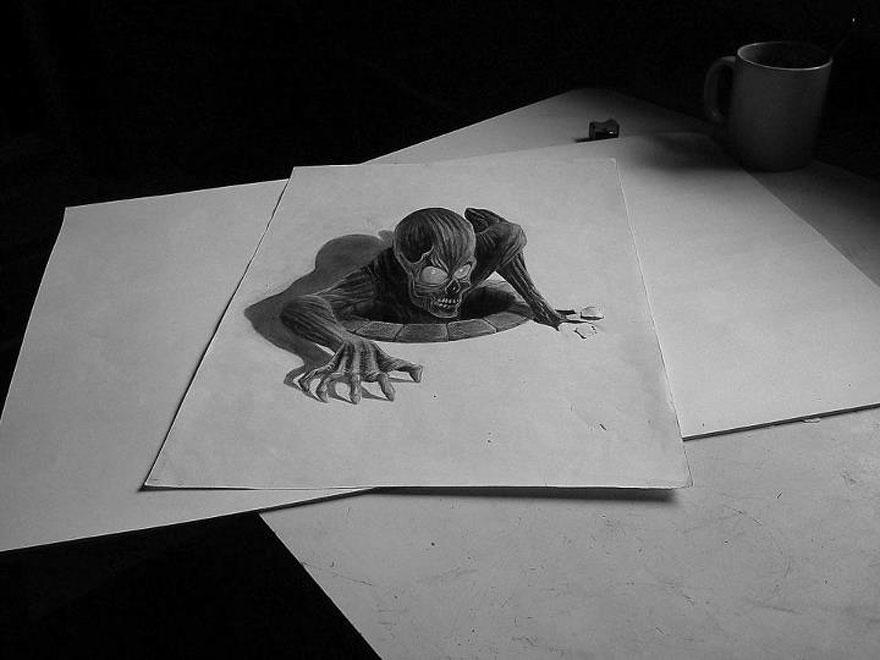 رسومات لا تصدق.. 33 رسمة 3d قمة الجمال والروعة مرسومة بقلم الرصاص..  3d-pencil-drawings-22