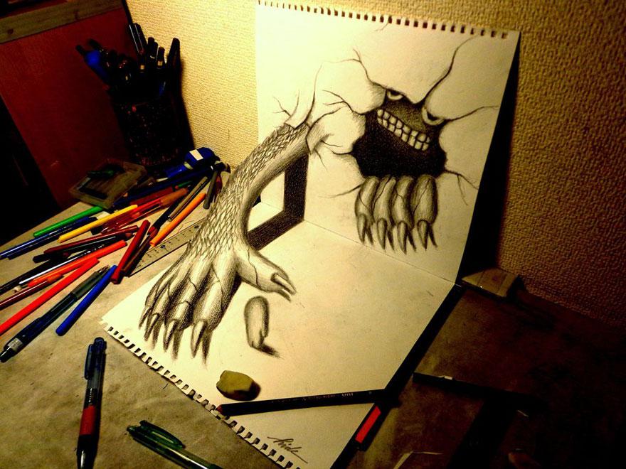 رسومات لا تصدق.. 33 رسمة 3d قمة الجمال والروعة مرسومة بقلم الرصاص..  3d-pencil-drawings-24