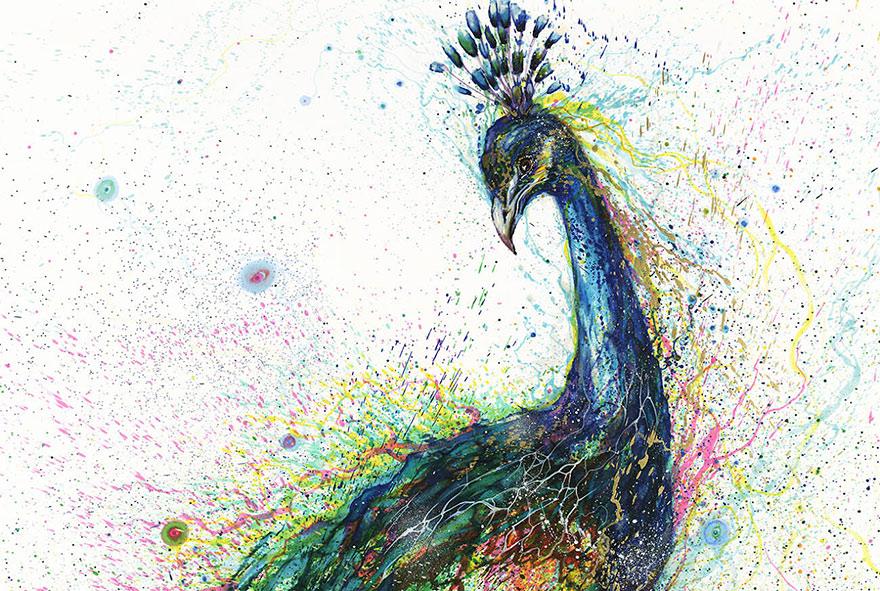 صور الطاوس فلاشية  Pinturas-salpicadas-animales-hua-tunan-7
