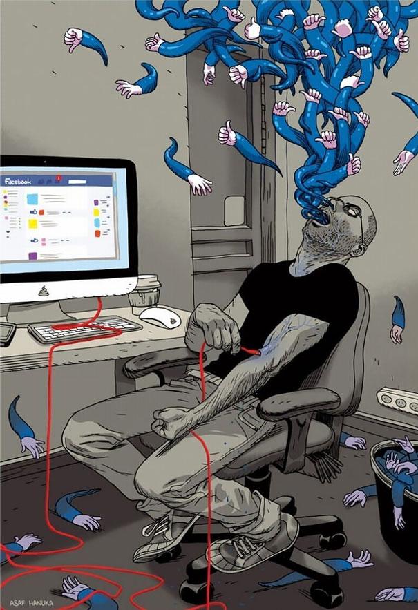 >>>Ilustraciones Satíricas..>>> Ilustraciones-satiricas-adiccion-tecnologia-6