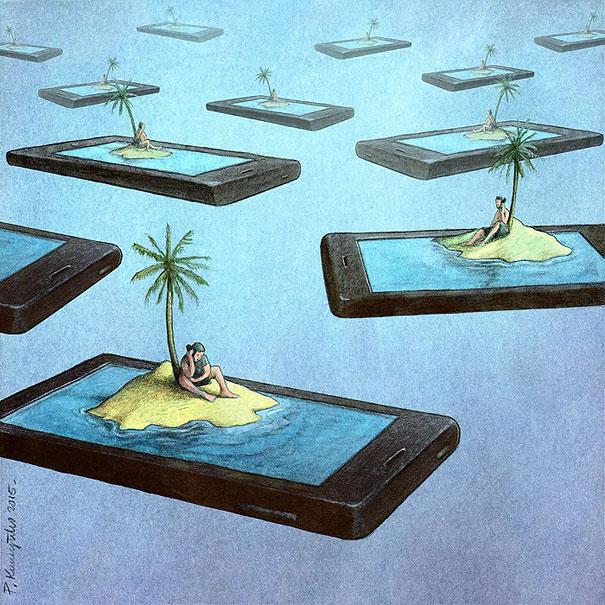 >>>Ilustraciones Satíricas..>>> Ilustraciones-satiricas-adiccion-tecnologia-8