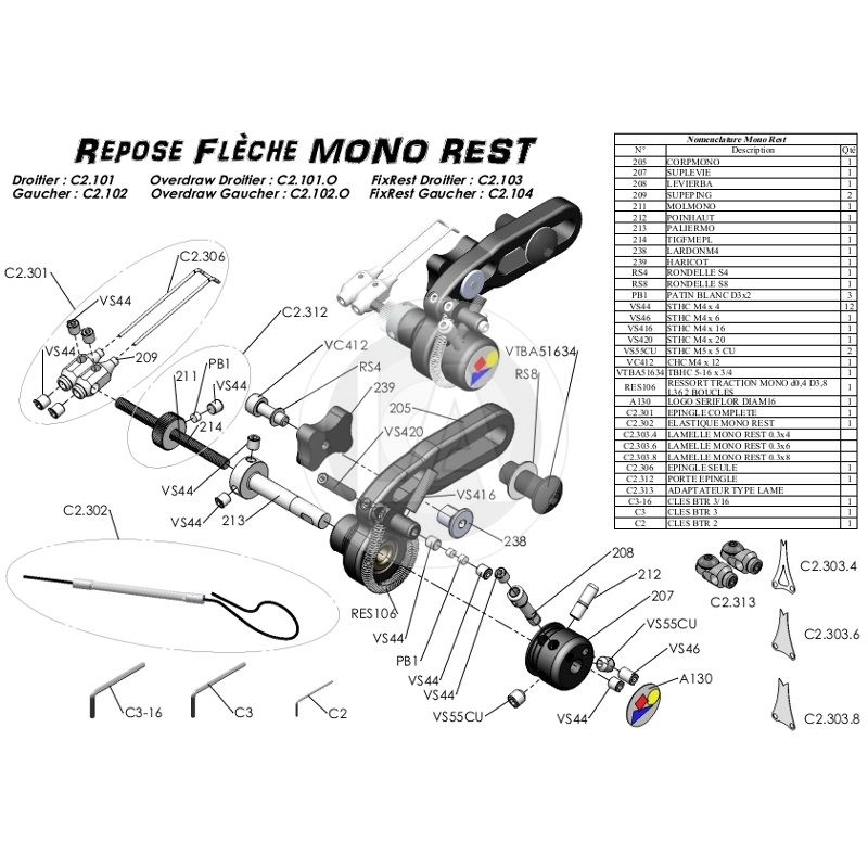 Repose-Fleche Arc systèm Monorest Repose-fleche-compound-arc-systeme-mono-rest