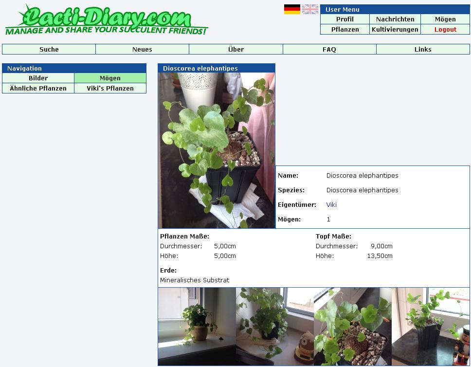Cacti-Diary.com - Teile deine stacheligen Freunde mit anderen! Moegen