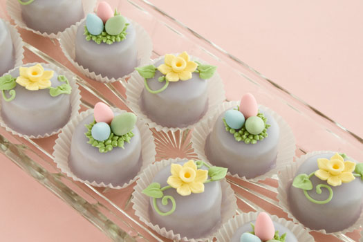 Cake Journal Petit-Fours-with-Easter-gum-paste-decorations