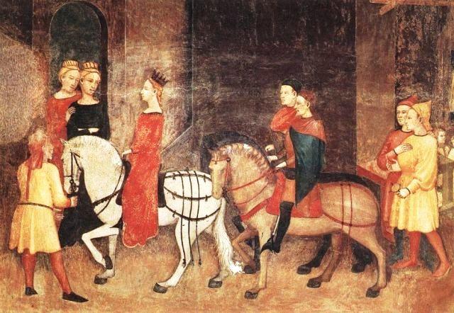 le disavventure di messer Rinaldo da Ferrara Pellegrini-ricchi-a-cavallo