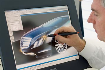 [Présentation] Le design par Mercedes Mercedes-F700-Concept-cintiq-sketching