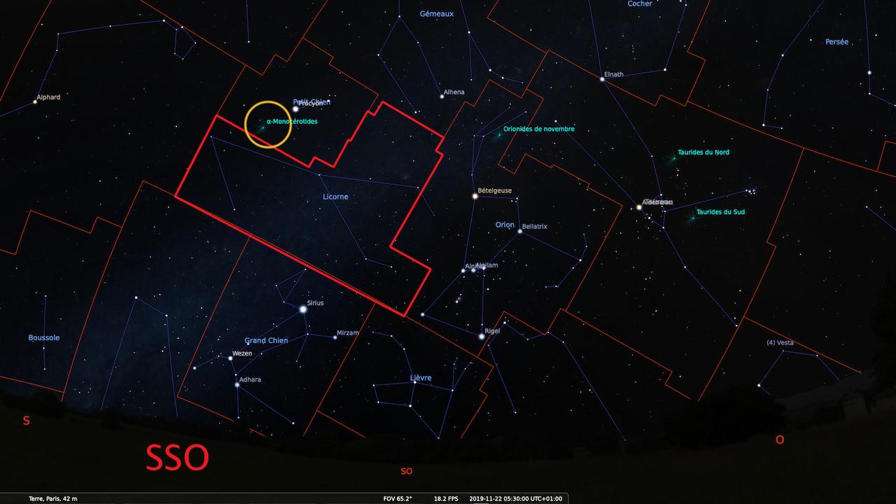 Observation de la nuit du 21 au 22 Novembre - Étoiles Filantes - Constellation de La Licorne CARTE--5h30--GENERALE-1280