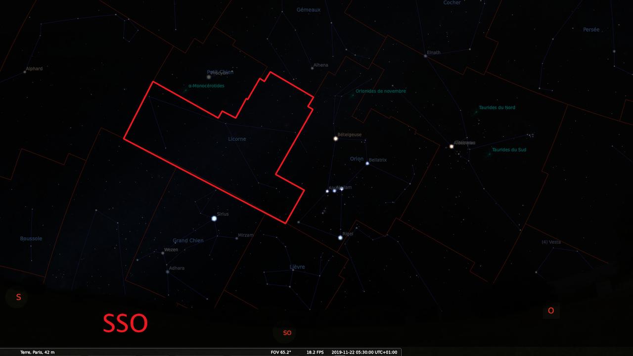 Observation de la nuit du 21 au 22 Novembre - Étoiles Filantes - Constellation de La Licorne CARTE--5h30--SOMBRE-1280