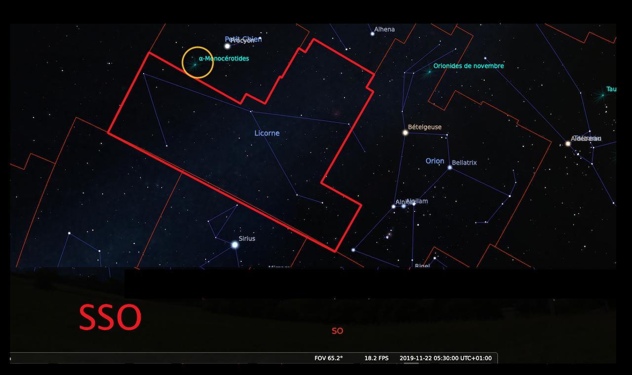 Observation de la nuit du 21 au 22 Novembre - Étoiles Filantes - Constellation de La Licorne CARTE--5h30--ZOOM-1280