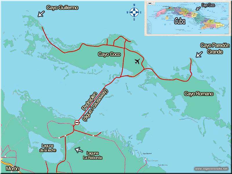 Jardines del Rey(Cayo Coco/Guillermo) , mapa CayoCoco-CayoGuillermo-Cuba-Map