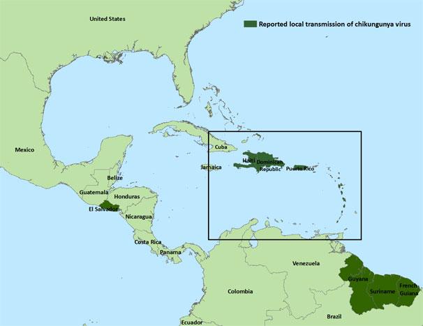 Amenaza del Chikungunya y resurgimiento del Ébola CHIK-Americas-Map-current