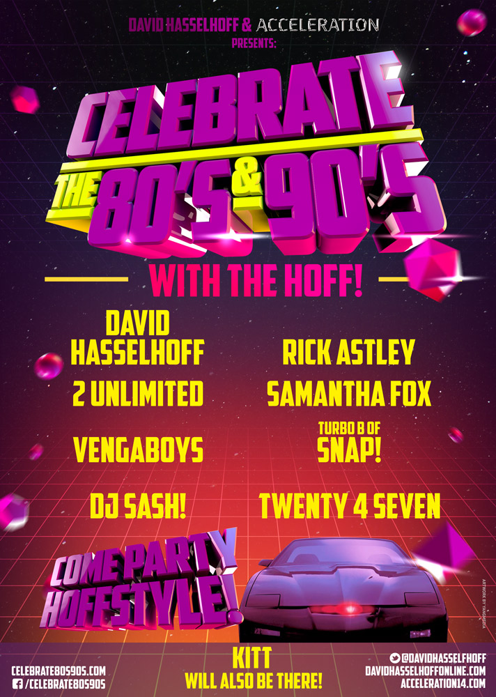 David Hasselhoff strikes back! Celebrate-The-80s-90s-Poster-Sketch