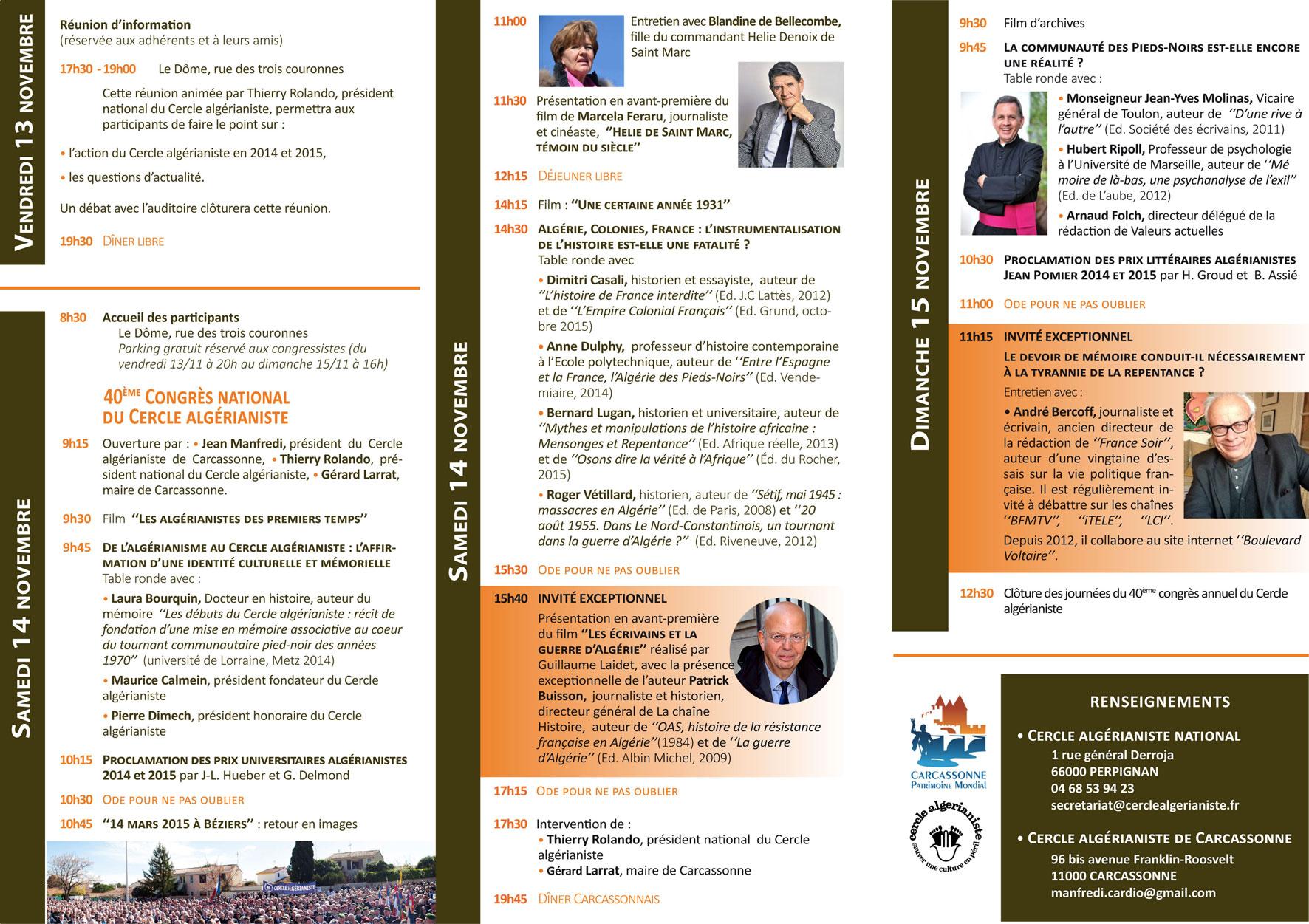 Evènement national 40ème Congrès du Cercle algérianiste Programme-2015-Site