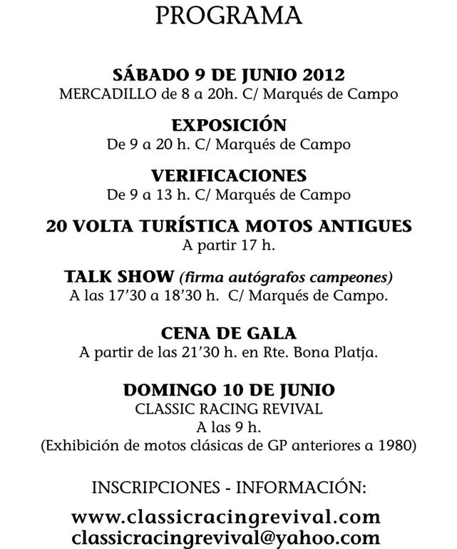 Classic Racing Revival Denia 2012 Cartellportada