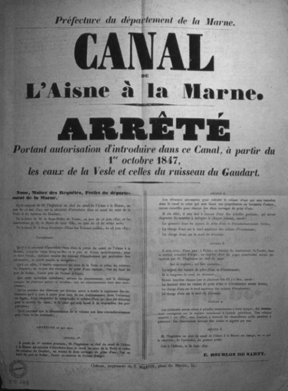 Projet du canal de Reims à l'Aisne Canal