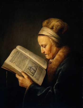 Zena na slikarskom platnu DouOldWomanReadingLectionaryCa1630RMA350