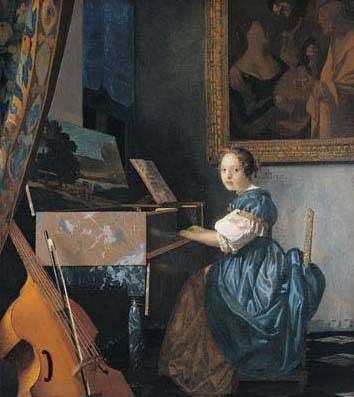 La musique dans la peinture VermeerWomanSeatedAtSpinetCa1670-72LondonNG