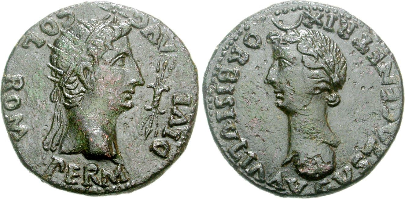 Dupondio Hispano Romano de Tiberio (COLONIA ROMULA) Image00764