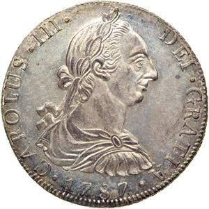 1777 Guatemala 8 reales. Carlos III Guatemala_1787_8_reales_obv_Goldberg_46-1052