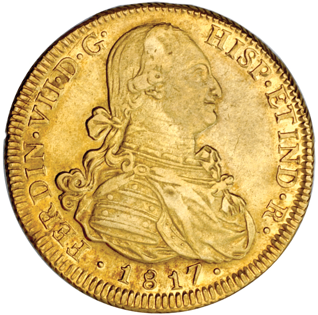 8 Escudos Fernando VII (Santiago, 1817) Chile_1817_8_escudos_obv_Eliasberg_1364