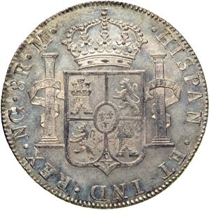1777 Guatemala 8 reales. Carlos III Guatemala_1787_8_reales_rev_Goldberg_46-1052