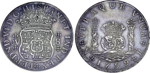 """8 Reales """"columnario"""" de Fernando VI (Santa Fe, 1759) pieza falsa 500px-COL_1759_SF-8-1_CNG-lot1475-Jan2011-USD50000"""
