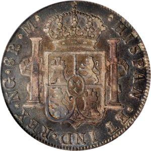 1777 Guatemala 8 reales. Carlos III 300px-Guatemala_1786_8_reales_rev_Ponterio_168-40598