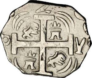 2 Reales Moneda Provisional (18)23 (2 R. M.P.). Gobierno Provisional de Honduras. TL (Comayagua (Honduras)). Moneda o fantasia? 300px-HON_1824_2R-PY_SB-lot1394-KM15point2-11Jan2013-USD-rev