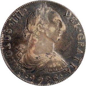 1777 Guatemala 8 reales. Carlos III 300px-Guatemala_1786_8_reales_obv_Ponterio_168-40598