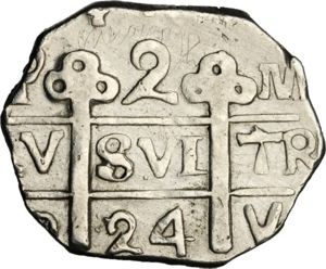 2 Reales Moneda Provisional (18)23 (2 R. M.P.). Gobierno Provisional de Honduras. TL (Comayagua (Honduras)). Moneda o fantasia? 300px-HON_1824_2R-PY_SB-lot1394-KM15point2-11Jan2013-USD-obv