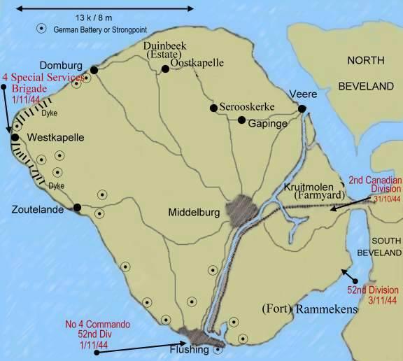 Les Commandos Belges et la forteresse Escaut Walcheren_map2