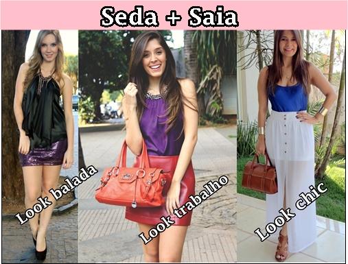 Saia Blusa Short e moda feminina  Blusa-de-seda-saia