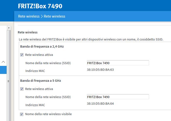 7490 configurazioni SSID con nomi diversi per  2,4 GHz e 5 GHz Wlan1