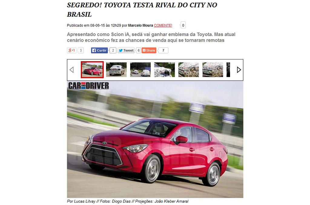 Toyota estaría planeando lanzar un sedán más grande sobre la plataforma del Etios Scion-iA-Brasil