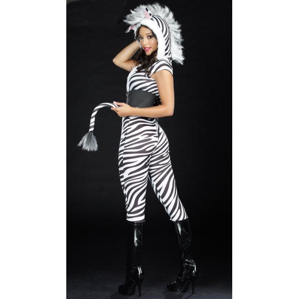 Présentation d'une jeune zèbre perdue dans la brousse Costume-zebre