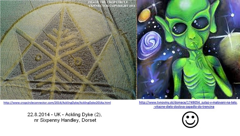 Crop Circle at Ironwell Lane, nr Stroud Green, Essex, United Kingdom. Reported 24th August  2014 2014-08-22_UK_AcklingDyke_2_nrSixpennyHandley_Dorset