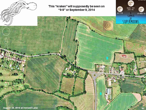 Crop Circle at Ironwell Lane, nr Stroud Green, Essex, United Kingdom. Reported 24th August  2014 Ironwell-moon5